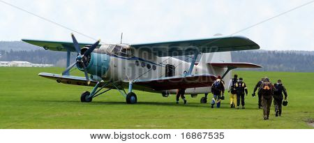 Historic plane paradropper Antonov An-2 in airport Plasy - Czech republic Europe