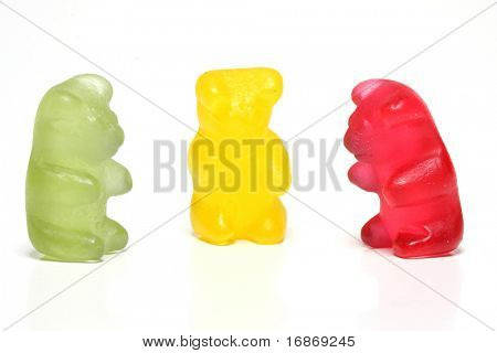 Three talking jelly  bears - conceptual image - team metaphor