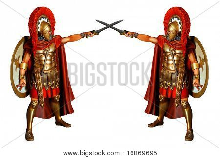 Fighting gladiators in armor with sword - antiquity unauthorized wooden sculpture