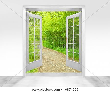 Opened door to early morning in green garden - conceptual image - environmental business metaphor.