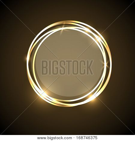 Abstract background with gold neon circles banner, stock vector