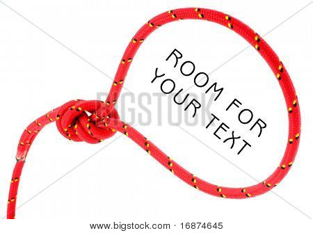 Noose of red rope on white background. Conceptual image - headhunting metaphor.