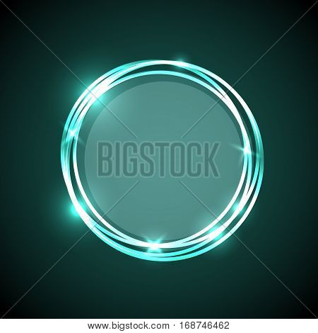 Abstract background with green neon circles banner, stock vector