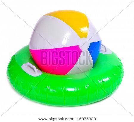 Floating water toys isolated on white background