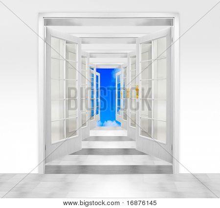 Door to heaven. Conceptual image. Success metaphor.