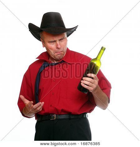 Drunken manager with traditional cowboy's hat.