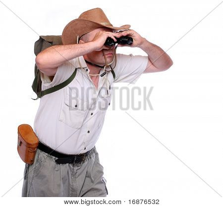 Park ranger watching closely wildlife with his binoculars. Studio shot isolated on white background