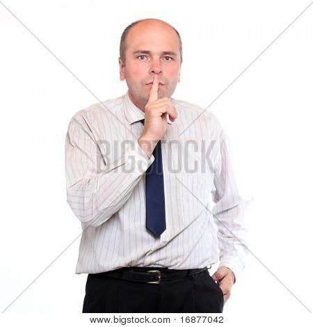 I say Nothing - Businessman holding finger over mouth on white background. Three mokeys concept.