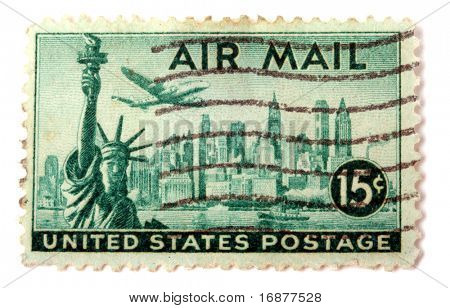 UNITED STATES OF AMERICA - CIRCA 1969: A stamp printed in the United States of America shows image of the Statue of Liberty, circa 1969