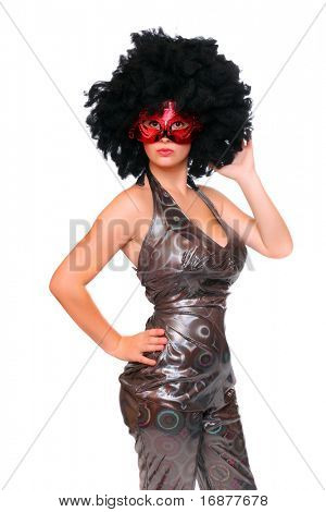 Pretty showgirl with red mask and afro hair-style dressed in luxury retro costume.