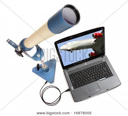 Spotters equipment, big spy-glass and laptop with liner on a display.
