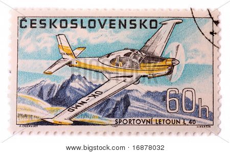 CZECHOSLOVAKIA - CIRCA 1967: A stamp printed in The Czechoslovakia shows image famous aerobatic plane Zlin L 40, series, circa 1967