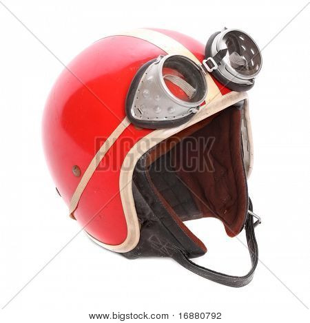 Retro helmet with goggles on a white background.