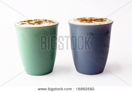 two cups of cappuccino
