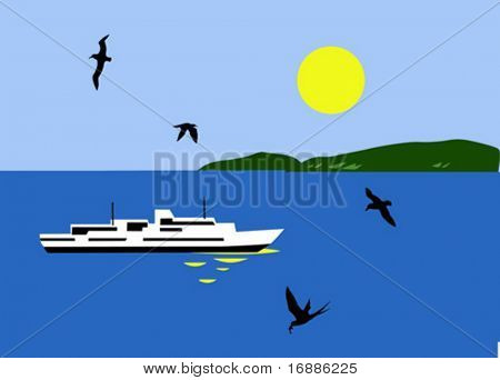vector illustration of the sailboat seaborne