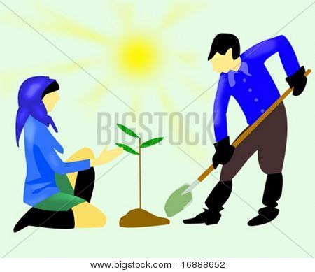 boy with shovel and girl with tree