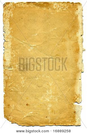 sheet of the old paper on white background