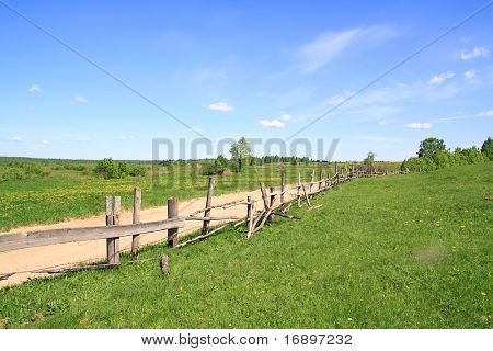 old fence on field