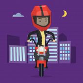 Постер, плакат: Woman in helmet riding a motorcycle on the background of night city Woman driving a motorcycle on a