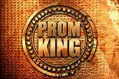 prom king, 3D rendering, grunge metal stamp poster
