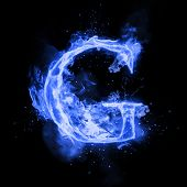 Fire letter G of burning blue flame. Flaming burn font or bonfire alphabet text with sizzling smoke  poster
