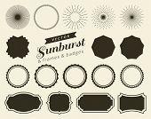 Collection of hand drawn retro sunburst, bursting rays design elements. Frames, badges. poster