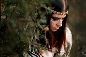 Beautiful Native Indian American Woman With Warrior Shaman Make Up On Background Of Woods poster