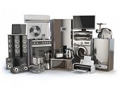 Home appliances. Gas cooker, tv cinema, refrigerator air conditioner microwave, laptop  washing mach poster