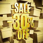 Gold 30 Percent Off Discount 3d Sign with Packaging Boxes Sale Banner Template, Special Offer 30% Of poster