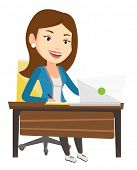 Caucasian student sitting at the table with laptop and writing notes. Student using laptop for educa poster