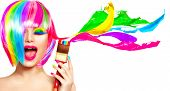 Dyed Hair humor concept. Beauty model woman painting her hair in colourful bright colors. Funny Joyf poster