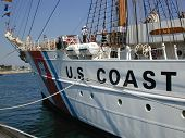 stock photo of coast guard  - USCG Eagle Ships Bow taken in Salem - JPG