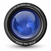 Zoom the World! Vector illustration of camera lens with Globe. Icon for TV News