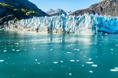 Glacier Bay Alaska cruise vacation travel. Global warming and climate change concept with melting ic poster