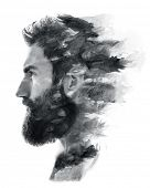 Portrait of a bearded man fading in black and white poster