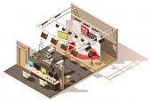 Vector isometric low poly television studio with production control room. Includes studio stage, tv  poster