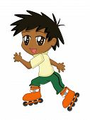 Cute Cartoon Boy Roller-Blading poster