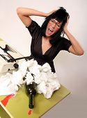Frustrated modern business female shouting out her annoyance - Studio shot. poster