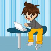 Cute Cartoon Boy With Laptop poster