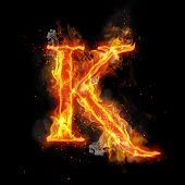 Fire letter K of burning flame. Flaming burn font or bonfire alphabet text with sizzling smoke and f poster