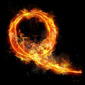 Fire letter Q of burning flame. Flaming burn font or bonfire alphabet text with sizzling smoke and f poster