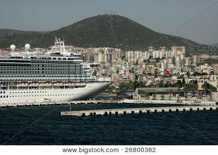 an image of big cruise in Kusadasi Turkey