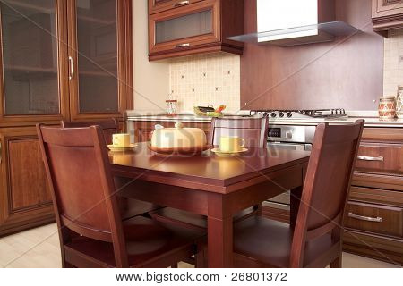 Modern Kitchen with Cherry drawers and kitchen furniture