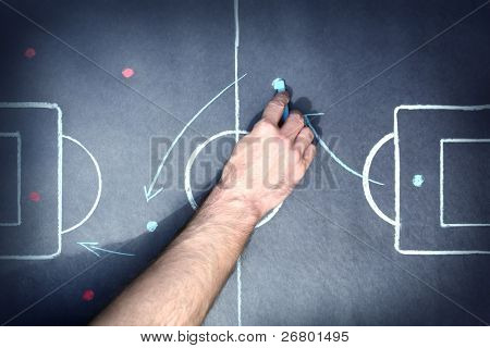 close up shot of a soccer tactic board