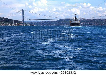 boat on bosphorus, marmara sea in istanbul, Turkey
