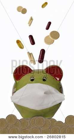 Piggy bank with protecting mask, coins and medications,