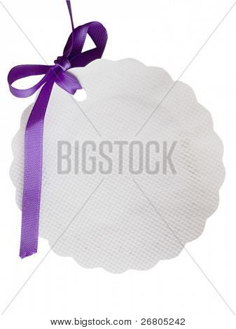 oval tag with sateen purple bow