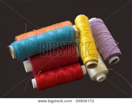group of color bobbins