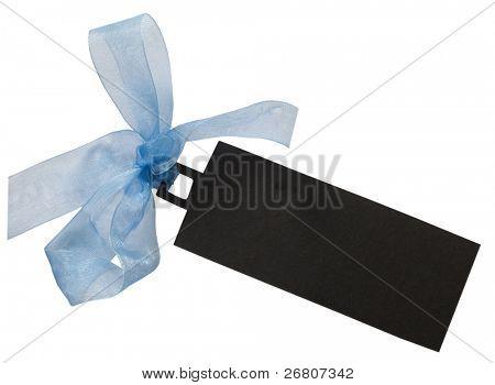 dark tag with blue ribbon