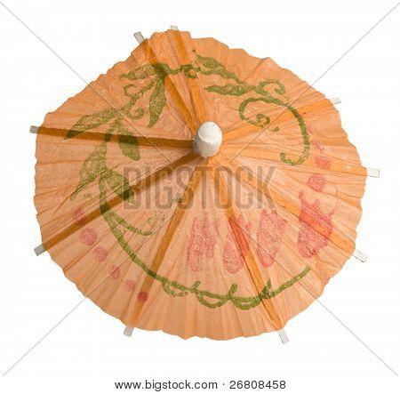 orange umbrella isolated on white